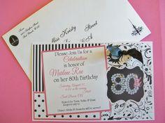 80th Birthday Invitation w/envelope