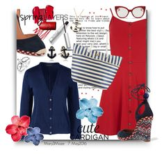 """""""Cute Cardigan for Spring Layers"""" by octobermaze ❤ liked on Polyvore featuring Dorothy Perkins, Napier, Aquazzura, Bling Jewelry, Lands' End, Liz Claiborne, Cappelli, Miu Miu, cutecardigan and springlayers"""