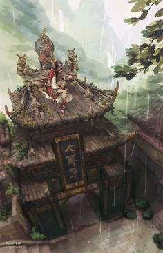 Asian fantasy art, digital illustrations and character studies. Fantasy Places, Fantasy World, Fantasy Art, Asian Landscape, Fantasy Landscape, Environment Design, Environment Concept, Matte Painting, Fantasy Inspiration