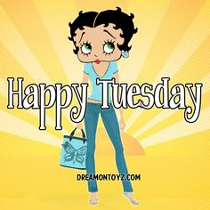 Happy Tuesday MORE Betty Boop Images http://bettybooppicturesarchive.blogspot.com/  And on Facebook https://www.facebook.com/bettybooppictures   Betty Boop with butterfly purse on sun background #Greeting