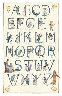 Kate Greenaway Alphabet 002 - Wonderful Vintage Alphabet Print - 11 x 17 inch Childrens Alphabet, Alphabet For Kids, Alphabet Print, Holly Hobbie, Alphabet And Numbers, Stickers, Illustrators, Hand Lettering, Giclee Print