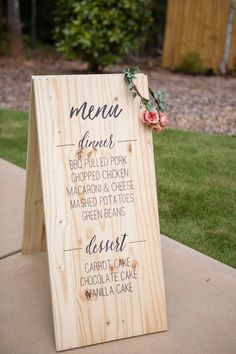 Wedding Food You've spent tons of time designing the dinner menu, so why not show it off? - You've spent tons of time designing the dinner menu, so why not show it off? Wedding Reception Food, Wedding Menu Cards, Wedding Signage, Wedding Table, Wedding Catering, Wedding Foods, Rustic Wedding Menu, Food Truck Wedding, Wedding Dinner Menu