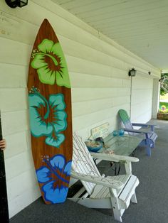 6 Foot Wood Hawaiian Surfboard Wall Art Decor or Headboard kids room Wood base color. We recommend Etsy.com for awesome surf art. www.chicasurfadventures.com