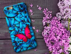 Samsung Cases, iPhone 6/6s/6 Plus/6s Plus/5s, LG Phone, Bright Blue Butterflies, Pink Butterfly, mothers day gift, monogrammed phone case by SaidTheOwl on Etsy