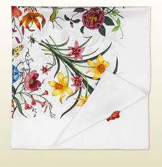 $455, White Print Silk Scarf: Gucci Flora Silk Printed Foulard. Sold by Gucci. Click for more info: http://lookastic.com/women/shop_items/67606/redirect