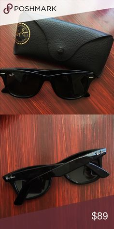 Original Ray-Ban Wayfarers Only worn a couple times & have been sitting in their case since. Great condition. Some small minor marks on arms where they fold over each other. Black frame with Dark Grey/ Black lens Ray-Ban Accessories Sunglasses