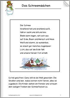 Das Schneemädchen - eine hübsche (traurige?) Geschichte für Kinder.