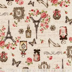 Cosmo - Paris Vintage Collage Natural Oxford Cloth - cotton fabric