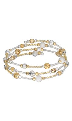 Memory Wire Bracelet with Gold- and Silver-Plated Brass Beads and Gold- and Silver-Plated Copper French Wire by Rose Wingenbach.