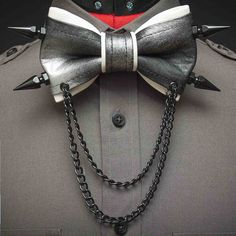 Metallic Painted Leather Bow Tie by JakeSimp on Etsy, $70.00