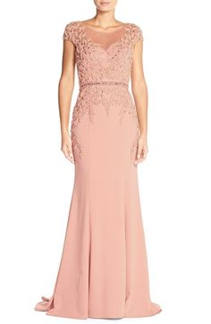 TeraniCouture Embellished Crepe Mermaid Gown available at #Nordstrom
