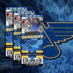 2.5x6 St Louis Blues Hockey Sports Party Invitation, Blues Sports Tickets Invites, Hockey Birthday Theme Party Template by sportsinvites