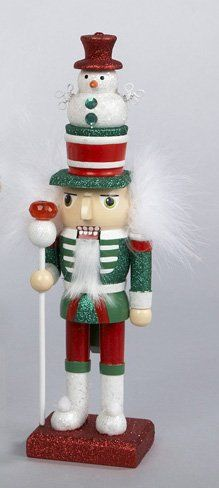 """Amazon.com - 15"""" Hollywood Red, Green and White Glitter Wooden Christmas Nutcracker with Snowman - Decorative Christmas Nutcrackers"""