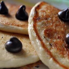 5 Minute Vegan Pancakes: we used gluten free flour and substituted apple sauce for the oil- they were fluffy and amazing!