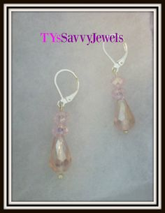 Swarovski  Crystal Pink  Teardrop Earrings by TYsSavvyJewels