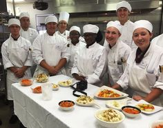 Students and chef in Farinaceous Products and Vegetable Cookery class