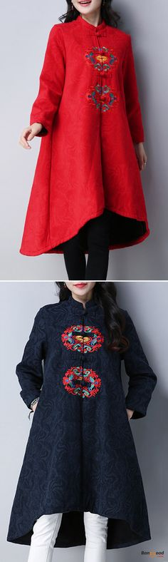 US$63.79 + Free shipping. Size: S~XL. Color: Black, Navy, Red. Fall in love with casual and vintage style! Ethnic Women Long Sleeve Embroidered Jacquard Dip Hem Trench Coat.