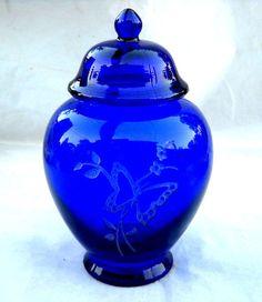 Fenton Cobalt Blue Temple Jar by gasman201 on Etsy