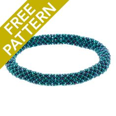Chenille Stitch Bangle Pattern for CzechMates by Nichole Starman | Fusion Beads | This bracelet has beautiful aqua colors that reminds me of the colors of the ocean. I love the blues with hints of purples. It would be great to make several of these in various colors and stack them on my wrist!