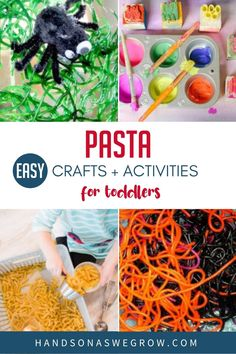 Sensory play, art, fine motor, spelling, crafts and more activities all using pasta from your kitchen pantry to keep toddlers and preschoolers busy at home. Craft Activities For Toddlers, Creative Activities, Toddler Preschool, Toddler Crafts, Crafts For Kids, Spider Web Craft, Pasta Crafts, Fun Pasta, Toddler Art Projects