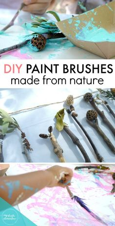 DIY paint brushes made from twigs, sticks, seed pods, leaves, pinecones, and things found in nature! This is an epic kids activity or toddler craft idea that involves exploring and foraging in nature, sensory learning, creative crafting and toddler art, and a lot of fun discovering textures, designs. and differences when using different elements and mediums to paint. This activity was part of our Camping Birthday Party! Click through to read more about both!
