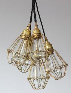 "Bündel aus fünf Käfig-Lampen, mit ""Edison""-Glühfaden-Lampen"