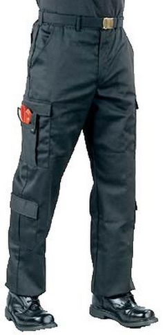 E.M.T. Pants - Black Trousers Longs EMT & Tactical Clothing Long lengths. small thru xl. poly/cotton, zipper fly, 9 pockets, slot pockets for scissors, flashlights, etc. with snaps or easy open/close hook & loop touch closures, adjustable waist tabs, drawstring bottoms.  size: s-xl longs  $35.91