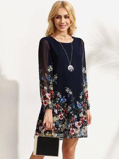Floral Print Lantern Sleeve Contrast Chiffon Dress