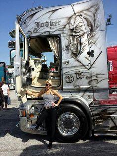 """Joker"" Show Trucks, Big Rig Trucks, Custom Big Rigs, Custom Trucks, Mercedes Truck, Train Truck, Truck Interior, Truck Art, Volvo Trucks"