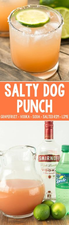 Salty Dog Punch - this easy cocktail recipe is made with grapefruit juice, vodka, and soda with lime for garnish and a salted rim! It's the perfect not-to-sweet spring or summer punch!