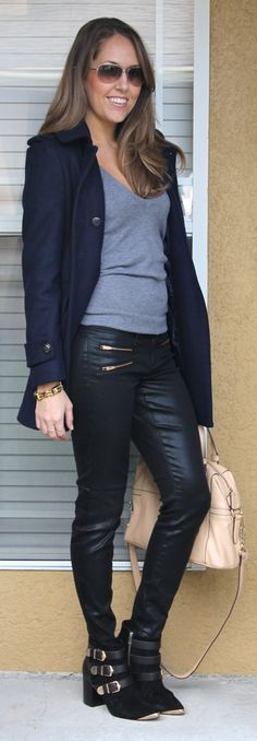 navy wool coat + grey vneck sweater + black double-zip jeans + buckled ankle boots