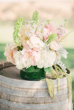 Vineyard Wedding at Firestone Vineyard Pink Centerpieces, White Centerpiece, Flower Decorations, Wedding Decorations, Wedding Bouquets, Wedding Flowers, Diy Bouquet, Vineyard Wedding, Love Flowers