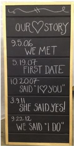 10 Best DIY Wedding Signs 2019 DIY wedding sign idea for a chalkboard that tells the couple's love story! The post 10 Best DIY Wedding Signs 2019 appeared first on Scrapbook Diy. Cute Wedding Ideas, Wedding Goals, Perfect Wedding, Wedding Planning, Wedding Inspiration, Wedding Pictures, Wedding Wishes, Wedding Signs, Our Wedding