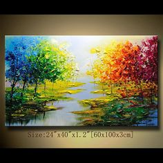 This painting is definitely a great gift.Its also Perfect choice for home and office decorations. This is an original painting,, hand painted on canvas,. Knife Painting, Colorful Trees, Trendy Tree, Palette Knife, Texture Painting, Original Paintings, Landscape Paintings On Canvas, Watercolor Landscape, Abstract Landscape