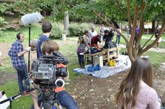 """Behind the scenes of the lunch scene! Production photo from """"The Radical Notion of Gene Mutation."""""""