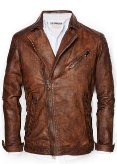 Vintage look leather biker jacket - Men Vintage Leather, Leather Men, Leather Jackets, Brown Leather, Custom Leather, Revival Clothing, Mode Style, Stylish Men, Outfits