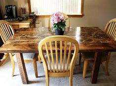 Attractive Reclaimed Wood Farm Table In Dining Room Nice Design