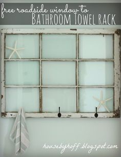 DIY Badezimmer Dekor Ideen – Repurposed Fenster Bad Handtuchhalter – Cool Do It Yo … - Diy Decoration Vintage Windows, Old Windows, Windows Decor, Antique Windows, Decorative Windows, Diy Bathroom Decor, Diy Home Decor, Bathroom Ideas, Bath Ideas