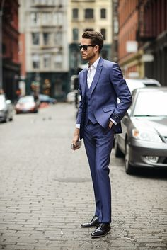 Blue-grey three-piece suit