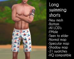 The Sims 4 Long swimming shorts by lazyeyelids Sims 4 Male Clothes, Sims 4 Clothing, Male Clothing, Sims 4 Cas, Sims Cc, Sims 4 Bedroom, Men's Swimsuits, Sims 4 Cc Finds, Sims Mods