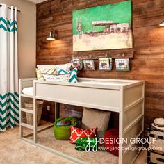 Love the chevron with teal and the mini bunk bed theory with play area underneath! Could hang a rod under it and put curtains to make a little fort type area or reading/train nook!