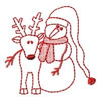 Santa & Company Redwork Set : HeartStrings Embroidery, Embroidery Designs