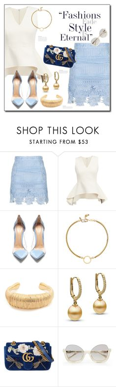 """""""Blue"""" by sheryl-lee ❤ liked on Polyvore featuring Topshop, Gianvito Rossi, Vanessa Mooney, Aurélie Bidermann, Gucci and La Perla"""