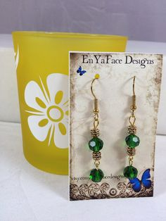 Emerald and Gold Plated 8mm Swarovski Crystal Birthstone Dangle Earrings on Etsy, $15.00