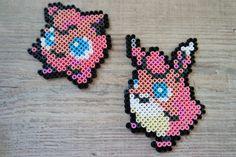 039 Rondoudou / Jigglypuff 040 Grodoudou / Wigglypuff - Perler Beads by Vicsene