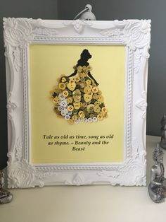 A personal favourite from my Etsy shop https://www.etsy.com/uk/listing/485733572/disney-princess-belle-button-art-frame