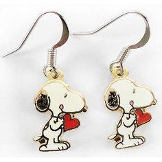 Snoopy Holding Woodstock Metal Enamel Stud Earrings