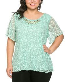 Look at this #zulilyfind! Essential Collection Mint Green Leopard Embellished Scoop Neck Top & Necklace - Plus by Essential Collection #zulilyfinds