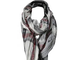 7c37103a409d Foulard chèche blanc, gris et rouge SIMON. SAHELINE · Foulards et chèches  homme