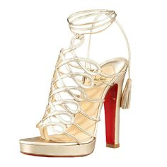 Christian Louboutin Tasseled Latticework Sandals Gold Red Bottom Shoes